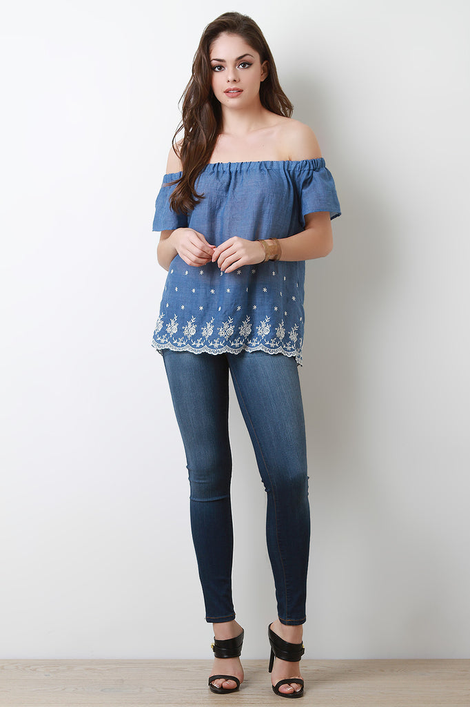 Off The Shoulder Contrast Embroidered Trim Blouse