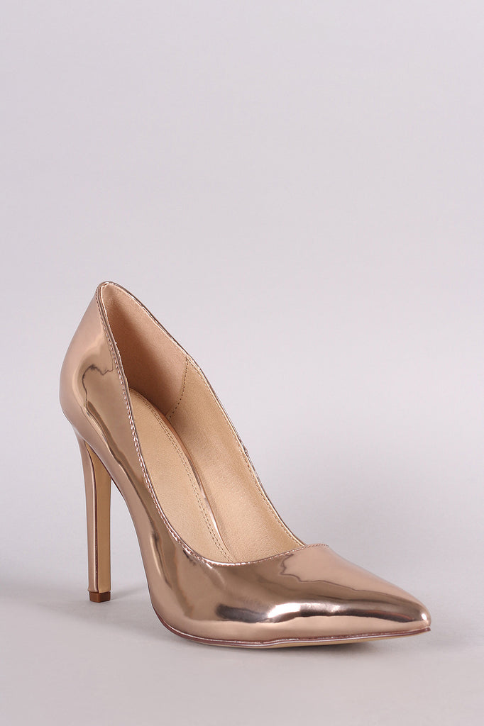 Metallic Patent Pointy Toe Single Sole Pump