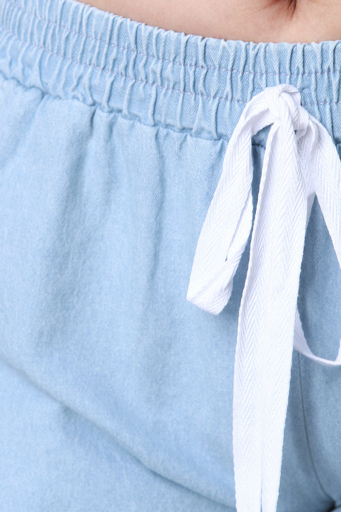 Chambray Fringe Drawstring Shorts