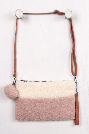 Two Tone Faux Shearling Clutch Crossbody Bag
