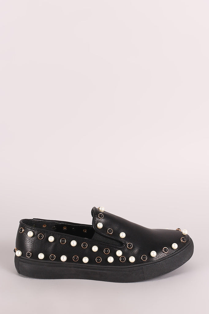 Liliana Faux Pearls Embellished Slip-On Sneaker
