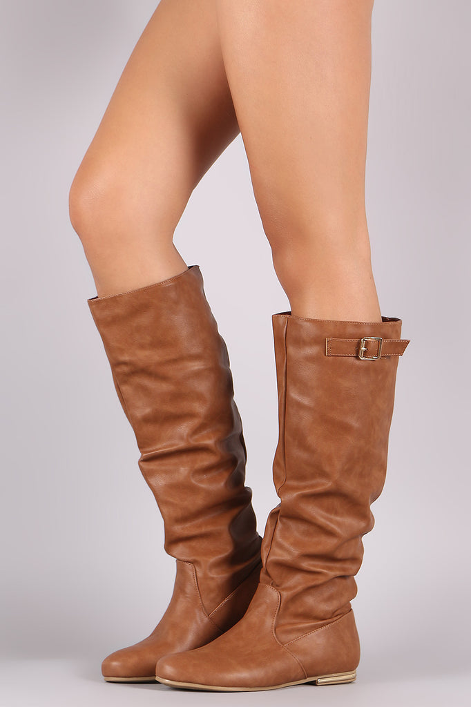 Buckle Slouchy Knee High Flat Boots