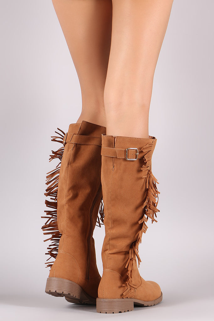 Suede Fringe Accent Riding Knee High Boots