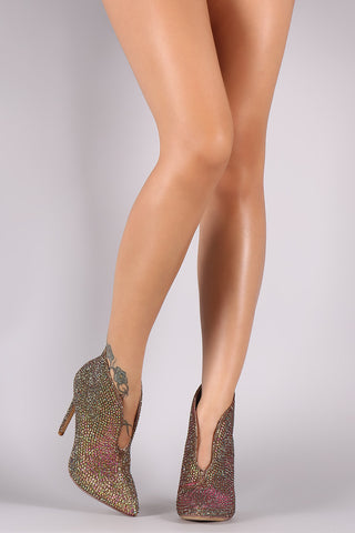 Liliana Rhinestone-Embellished Split-Front Stiletto Booties