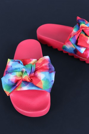 Bamboo Printed Oversized Bow Lug Sole Slide Sandal