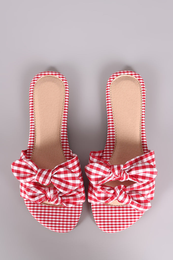 Liliana Gingham Bow Accent Double Band Slide Flat Sandal
