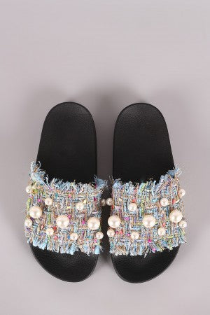 Thread Woven Frayed Pearl Accent Open Toe Slide Sandal