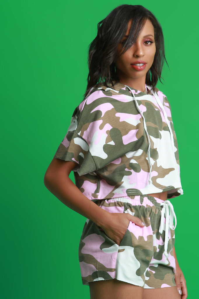 Camouflage Hoodie with Shorts Set