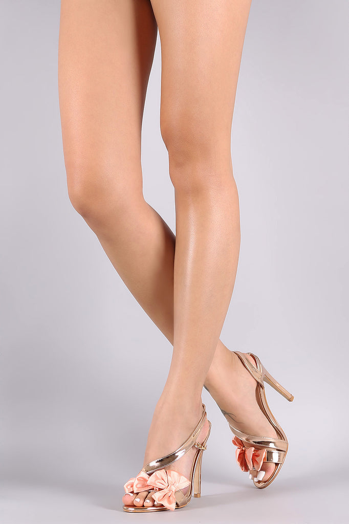 Bow Accent Side Chain Slingback Dress Heel