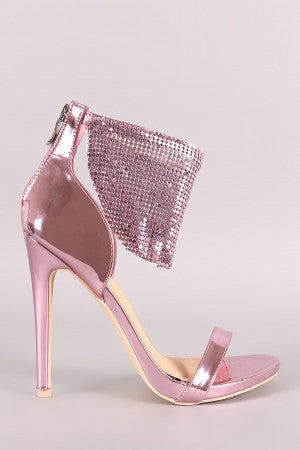 Patent Chandelier Ankle Cuff Stiletto Dress Heel