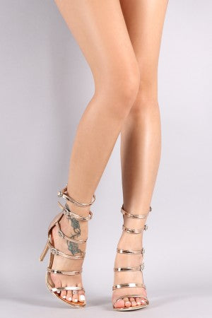 Patent Ladder-Up Buckle Strap Gladiator Heel