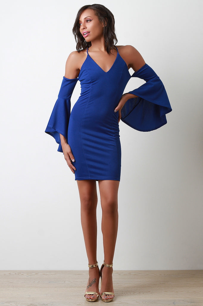 V-Neck Bell Sleeves Cold Shoulder Bodycon Dress