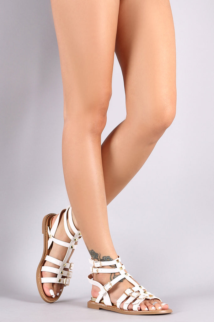 Strappy Buckle Stud Gladiator Sandals