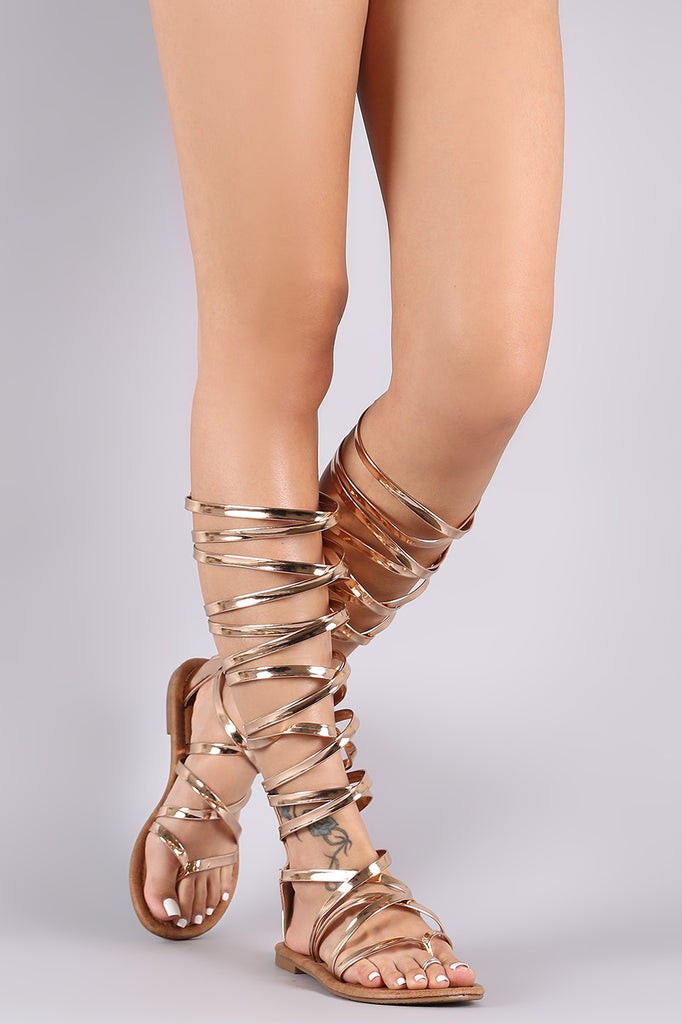 Patent Strappy Knee High Gladiator Thong Flat Sandal