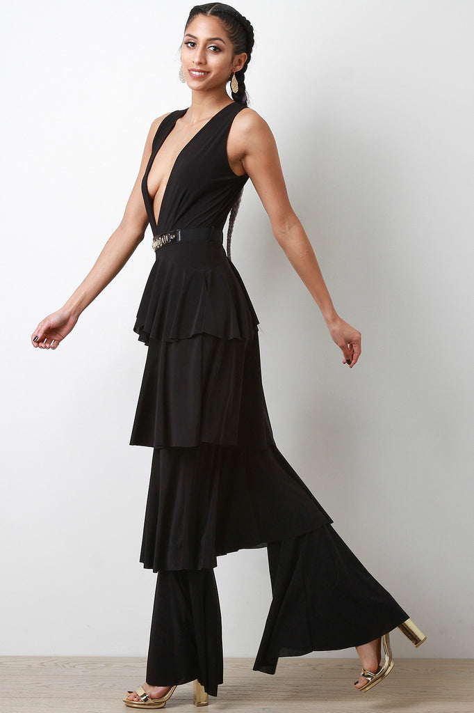 Ruffle Tiered Deep-V Jumpsuit