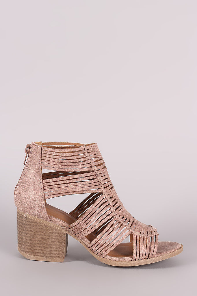 Qupid Distressed Strappy Woven Chunky Heeled Booties