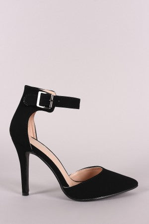Nubuck Pointy Toe Ankle Strap Pump