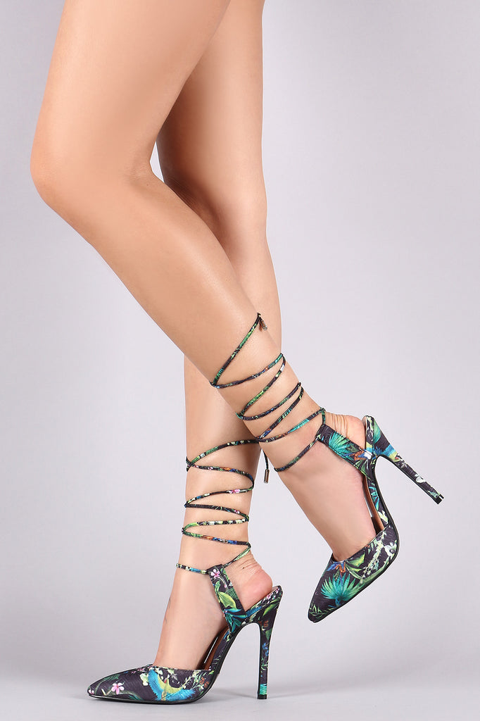 Floral Pointy Toe Ankle Lace-Up Stiletto Heel