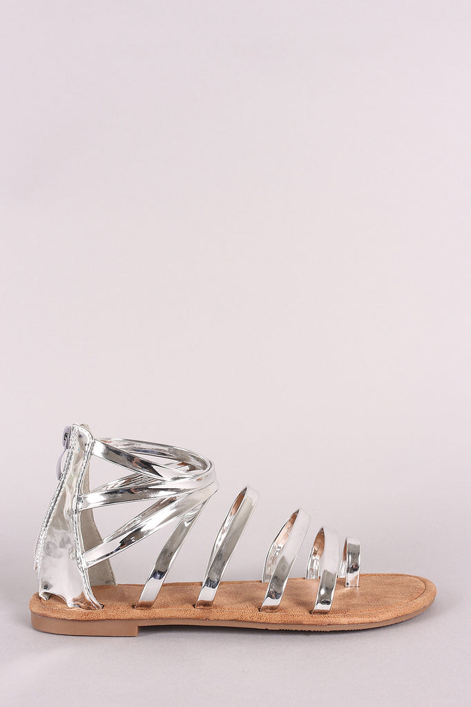 Patent Strappy Gladiator Toe Ring Flat Sandal
