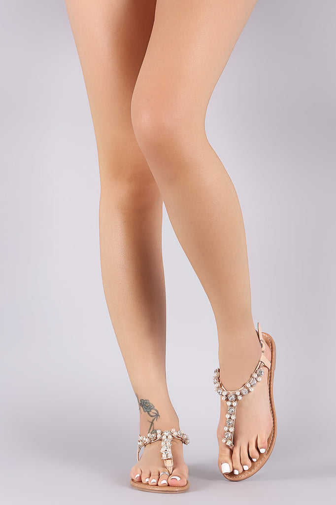 Faux Pearl And Jewel Accent T-Strap Flat Sandal