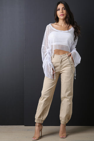 High Waisted Side Chain Cargo Pants