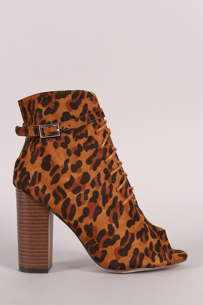 Peep Toe Buckled Lace-Up Chunky Heeled Leopard Ankle Boots