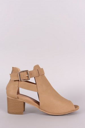 Nubuck Peep Toe Stacked Block Heeled Ankle Boots