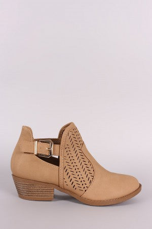 Perforated Cutout Ankle Booties