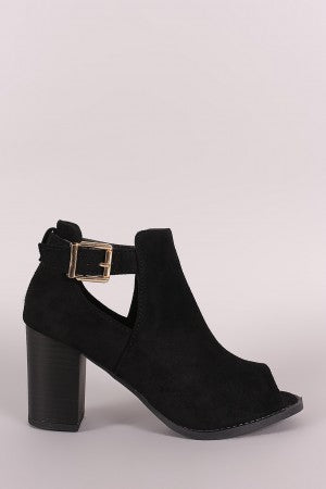Suede Peep Toe Stacked Chunky Heeled Ankle Boots