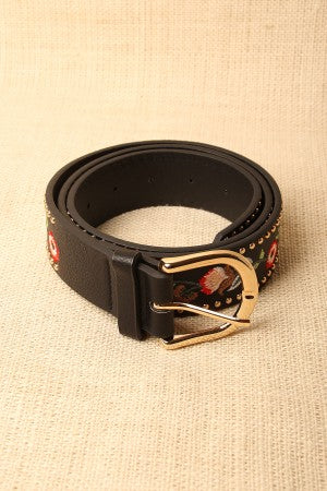 Floral Embroidered Studded Trim Buckle Belt