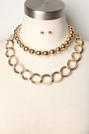Bead with Chain Stack Necklace