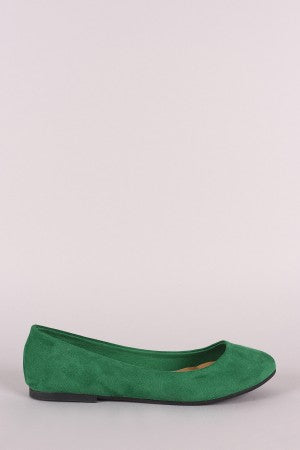 Bamboo Suede Round Toe Ballet Flat