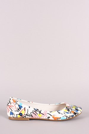 Bamboo Printed Round Toe Ballet Flat