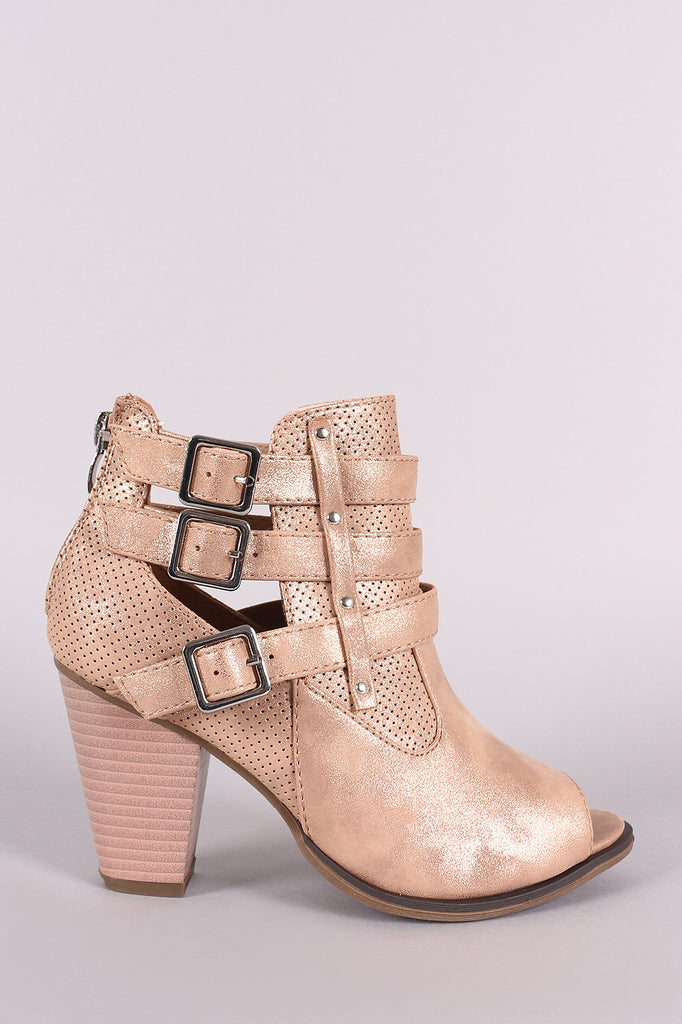 Perforated Buckles Accent Chunky Heeled Booties