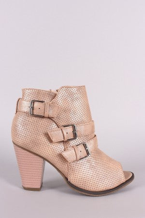 Perforated Triple Buckle Peep Toe Chunky Heeled Booties