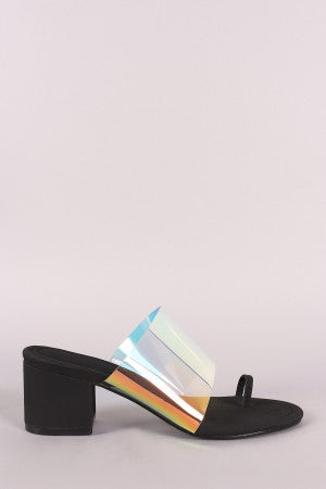 Holographic Toe Ring Slip On Mule Block Heel
