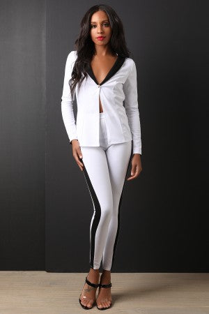 Two Tone Blazer With High Waist Skinny Pants Set