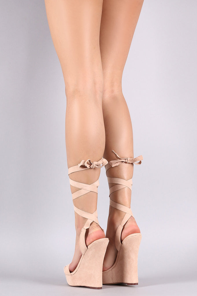 Liliana Ankle Lace-Up Open Toe Platform Wedge