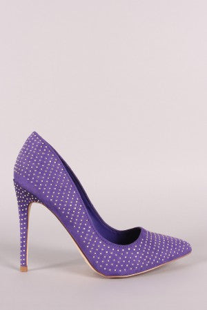 Anne Michelle Studded Suede Pointy Toe Stiletto Pump