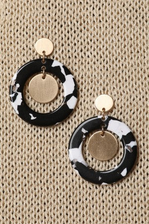 Gold Disc Accent Cow Print Dangle Hoop Earrings