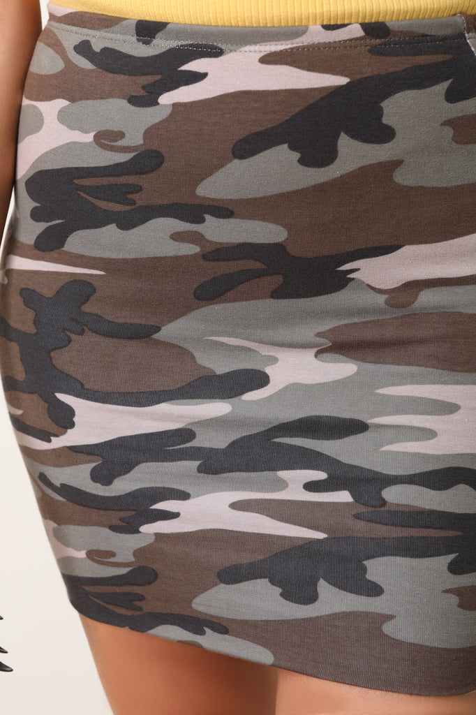 High Rise Camouflage Mini Skirt