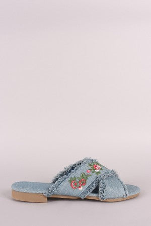 Frayed Denim Floral Embroidered Crisscross Slide Sandal