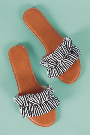 Ruffled Stripe Open Toe Slide Sandal
