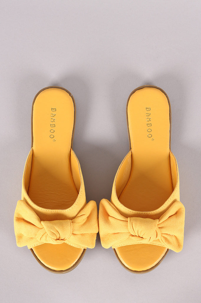 Bamboo Bow Open Toe Slide Sandal