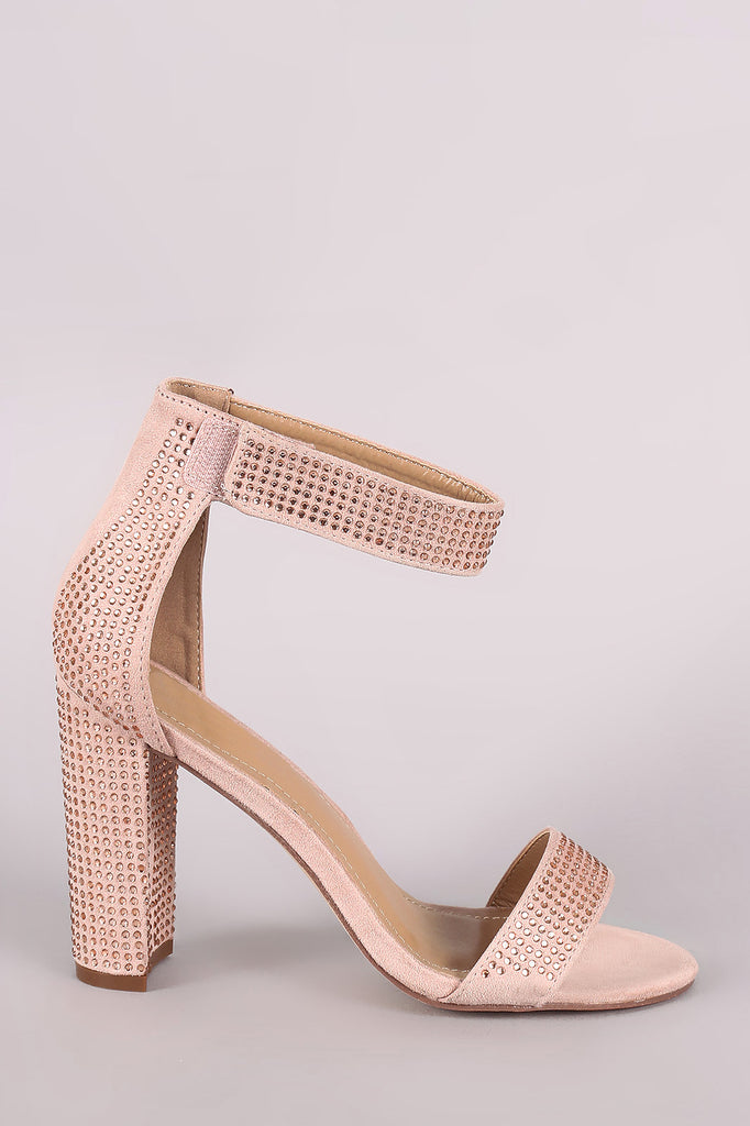 Rhinestone Open Toe Hook And Loop Ankle Strap Chunky Heel
