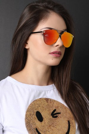Double Metal Bridge Mirrored Sunglasses