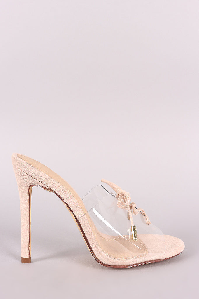 Transparent Band Lace-Up Stiletto Mule Heel