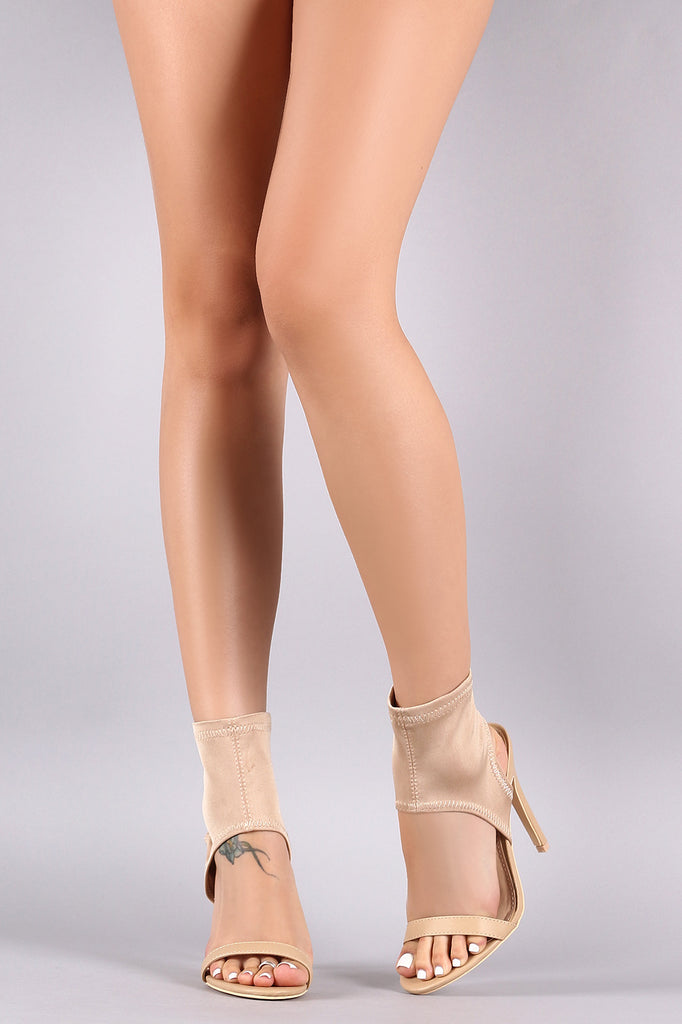 Open Toe Ankle Sock Booties Stiletto Heel
