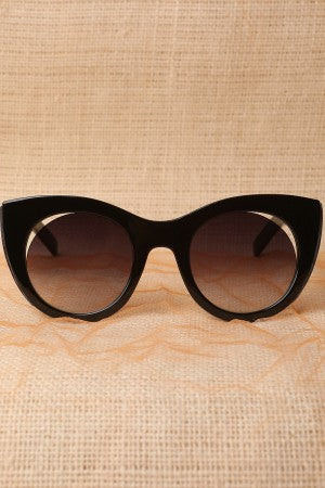Plastic Frame Cat Eye Cutout Sunglasses