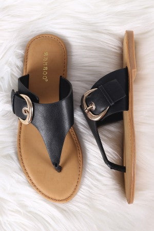 Bamboo Oversized Buckled Thong Flat Sandal